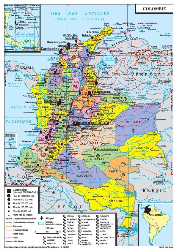 Les visas pour la Colombie sont Visiteurs (V), Migrants (M) et Résidents (R).